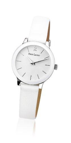 Pierre Lannier - 019K600 - Montre Femme - Quartz Analogique - Cadran Blanc - Bracelet Cuir Blanc