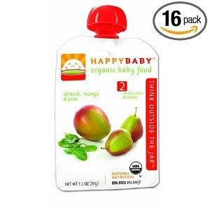 HAPPYBABY Organic Baby Food, Stage 2, Spinach, Mango & Pear, 16 - 3.5 Ounce Pouchs ( Value Bulk Multi-pack)