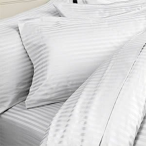Details for ITALIAN 1200 Thread Count 100% Egyptian Cotton 3 Piece Duvet Cover Set , Full/Queen, White Stripe by Egyptian Cotton Factory Outlet