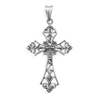 Cross Pendant Sterling Silver Filigree Diamond Design Antique Finish