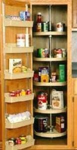 24 inch Full Circle Lazy Susan for Pantry Cabinet - 5 Shelf unit - Almond