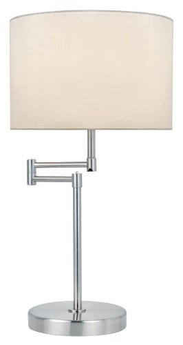 Lite Source Ls-22215Ps/Wht Durango Table Lamp With Swing Arm, Polished Steel, White Fabric Shade front-95604