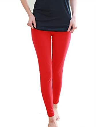 Cotton Spandex Jersey Legging 8328 (X-Small, Red)