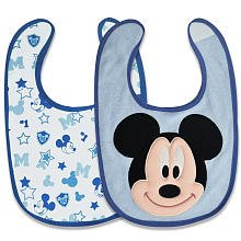 Disney Mickey Mouse 2 Piece Terry Cloth Bibs Gift Set