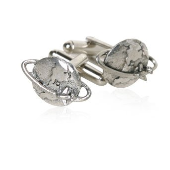 World Traveler Pewter Silver Cufflinks with Globe and Airplane with Presentation Box