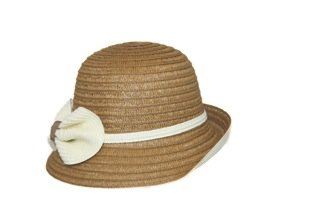 Jeanne Simmons Women's Hat- Bucket Brim, Bow and Band Accent Hat (Tan/Cream)