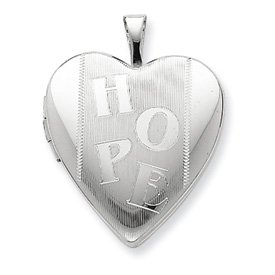 Genuine IceCarats Designer Jewelry Gift Sterling Silver 20Mm Hope Heart Locket