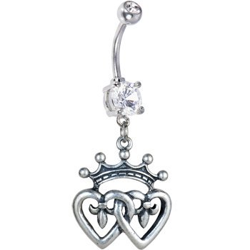 Spider And Spider Web Tattoos (12ct) Double Heart Belly Ring accented with a