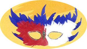 American Mardi Gras Mask in Patriotic Red, White and Blue - Fun for Mardi Gras