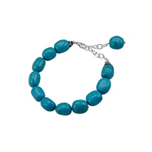 Barse Sterling Silver Adjustable Turquoise Nugget Bracelet