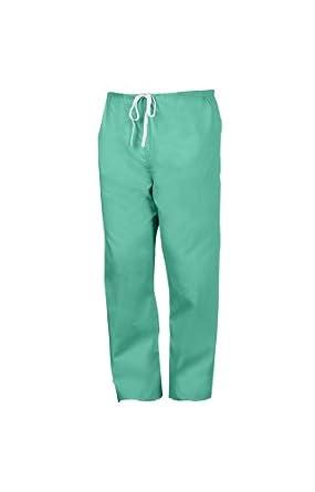 Worklon 896M Polyester/Cotton Unisex Scrub Pant with Drawcord Closure, Green, Medium