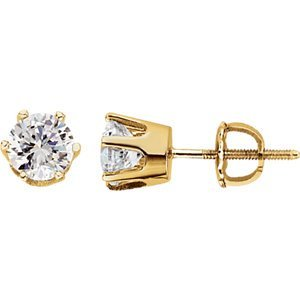 14K White 6.5mm Cubic Zirconia Stud Earrings