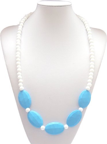 "Silli Me Jewels: Classy Mom - 31"" Teething Necklace with Large Oval Beads and 9mm ""Pearls"" for Baby to Chew (Sky Blue)"