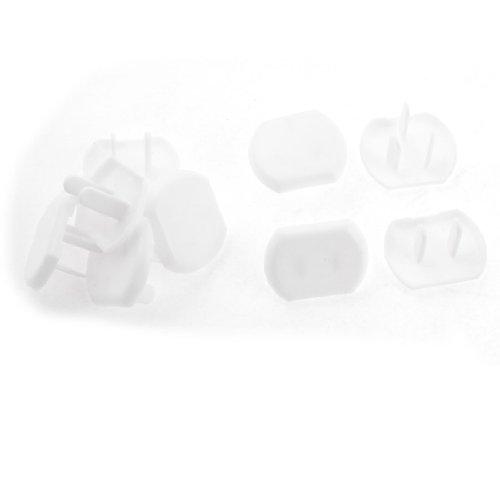 10 Pcs White Oval Plastic US 3P 2 Pin Plug Protective Socket Duvet