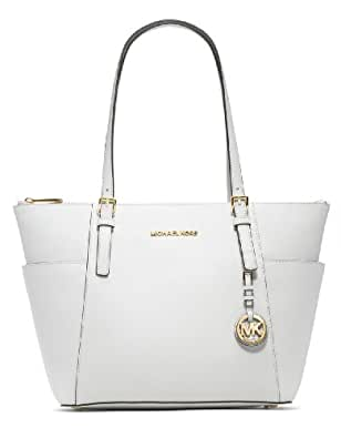 Michael Michael Kors East West Top Zip Tote Optic White with Gold