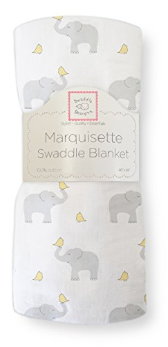 SwaddleDesigns Marquisette Swaddling Blanket, Elephant & Chickies, Pastel Yellow