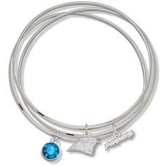 NFL Officially Licensed Blue Crystal Carolina Panthers Bangle Bracelet Set