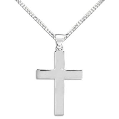 Plain Polished Sterling Silver Cross Necklace, 22-inch