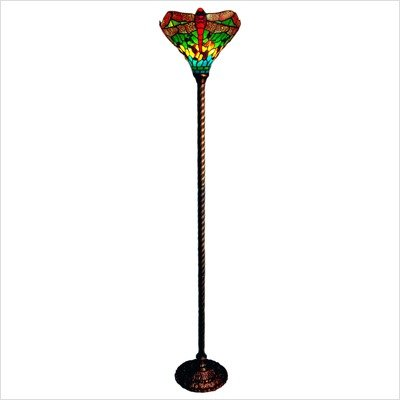 Tiffany Style Dragonfly Torchiere Floor Lamp in Green Shade
