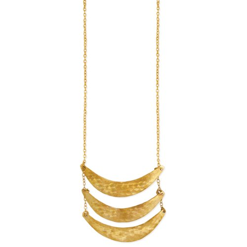 ZAD Triple Hammered Crescent Moons Fashion Necklace Gold Tone