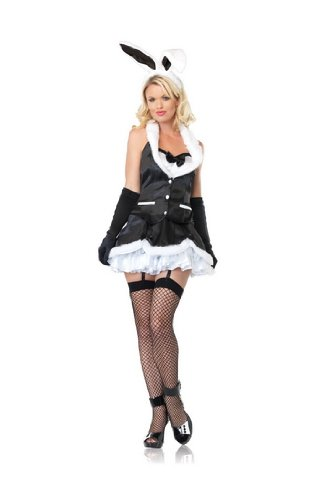 Sexy Womens Adult Lingerie Teddy Skirt Set Outfit Black Bunny Dress Pink Furry Marabou Trim Costume Leg Avenue