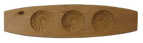 Authentic Chinese wooden Mooncake mold - three flowers design