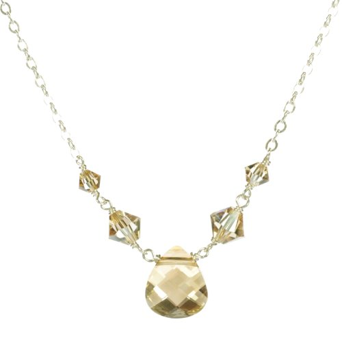 Sterling Silver Swarovski Elements Crystal Golden Shadow Briolette and Beads Necklace, 18