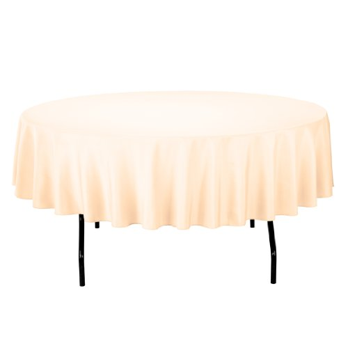 Linentablecloth Round Polyester Tablecloth, 90-Inch, Cantaloupe front-456232