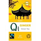 THREE PACKS of Qi Organic Green Tea & Ginger 25 Bag