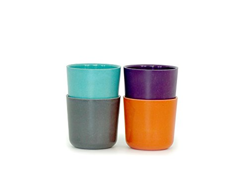 Biobu [by Ekobo] 8 oz Bambino Cup Set in Gift Box, Lagoon/Mandarin/Prune/Smoke