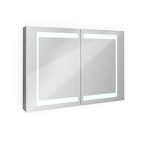 Badezimmer-Spiegelschrank-Aluminium-Bad-Schrank-LED-Steckdose-Spiegel-innen-100-cm