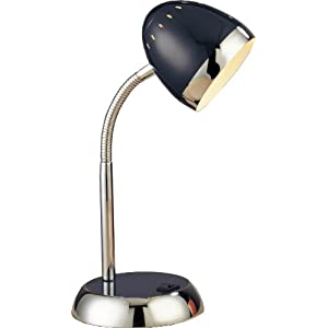 Normande Lighting 40W High Intensity Desk Lamp 15-Inches Black Painted Finish and Chrome Accents