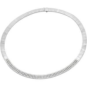 14k White Gold Rough Diamond Necklace 8ct 16 Inch - JewelryWeb