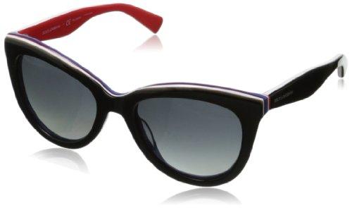 Image of D&G Dolce & Gabbana Women's 0DG4207 Cat-Eye Polarized Sunglasses,Black on Red,55 mm