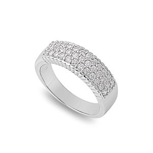 Little Treasures Rhodium Plated Sterling Silver Wedding & Engagement Ring Clear CZ CZ Ring 6MM