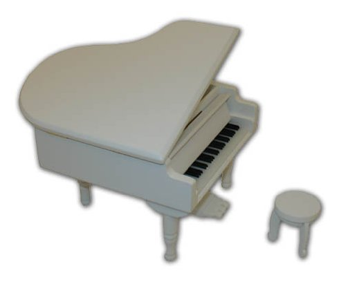 Gorgeous Small White Wooden Piano Musical Jewlery Box w. Stool with 18 Note Tune-Somewhere Over the Rainbow
