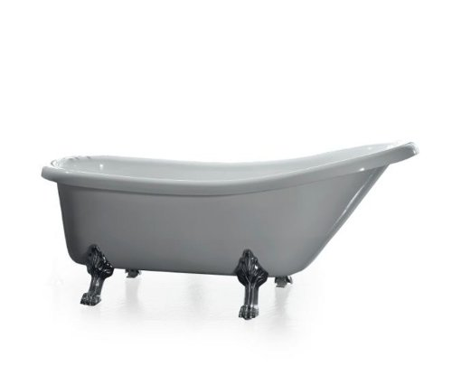 Ove Clawfoot 66-Inch Freestanding Acrylic Bathtub With Freestanding Faucet, Glossy White