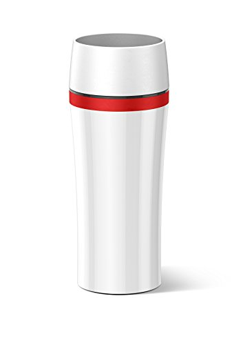 Emsa Fun - Bicchiere termico da viaggio, con coperchio, 0,36 l bianco/rosso