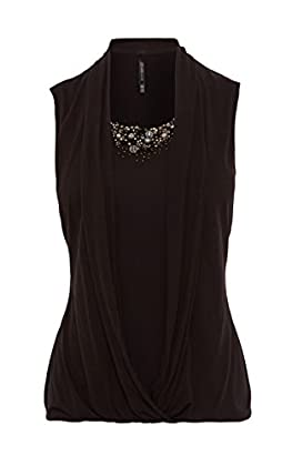 BEAD EMBELLISHED DRAPED TOP