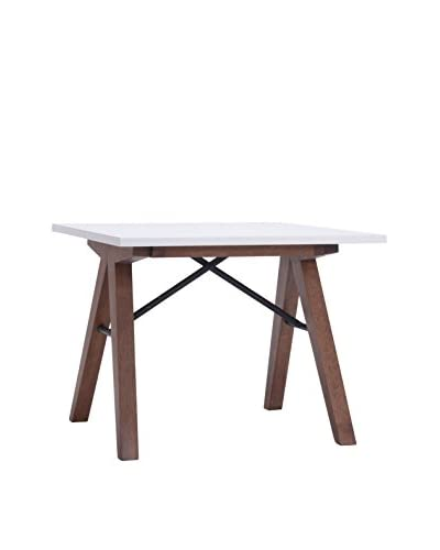 Zuo Saints Side Table, Walnut/White