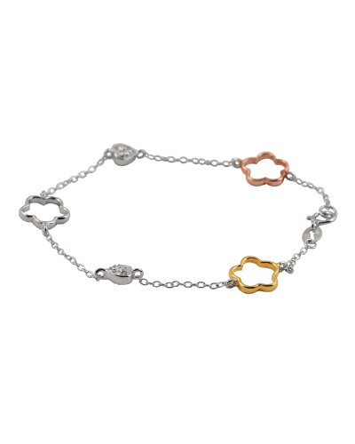 Rose, Yellow, White Gold Plated Open Clover Heart Bracelet
