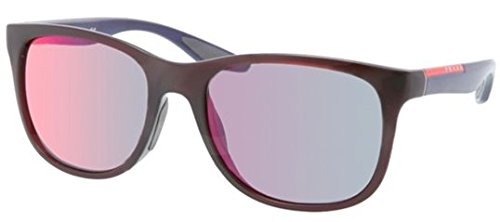 Prada Sport Ps03Os Sunglass-Sl8/9Q1 Bordeaux (Gray Mirr Blue Red Lens)-55Mm