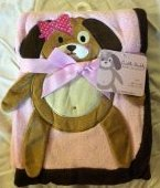 "Pink Applique ""Dog"" Baby Blanket - 1"