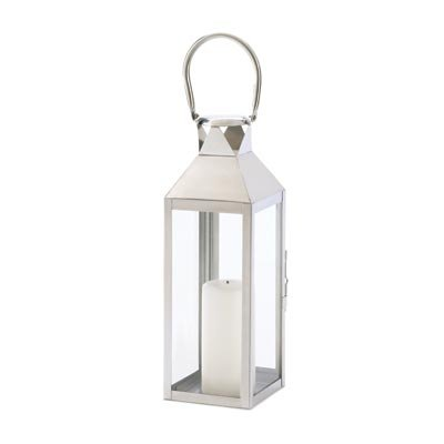 Manhattan Polished Silver Tone Hanging Candle Lantern