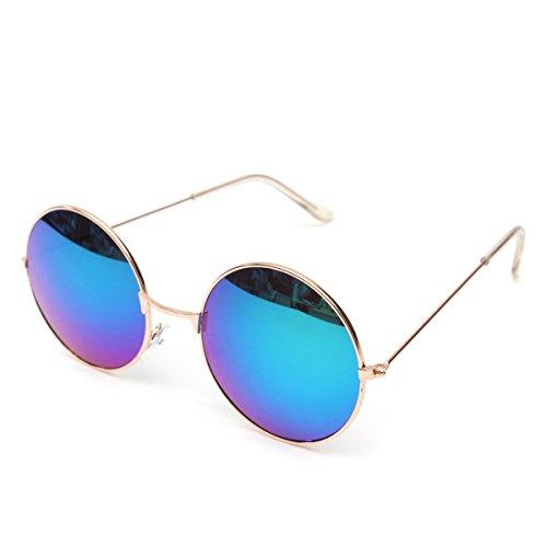 OUTERDO Unisex Retro rotonda telaio in metallo Occhiali da sole Eyewear degli occhiali per gli uomini donne UV400 azzurro