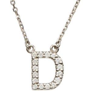 Amazoncom 14k white gold diamond alphabet letter d for Letter d diamond pendant