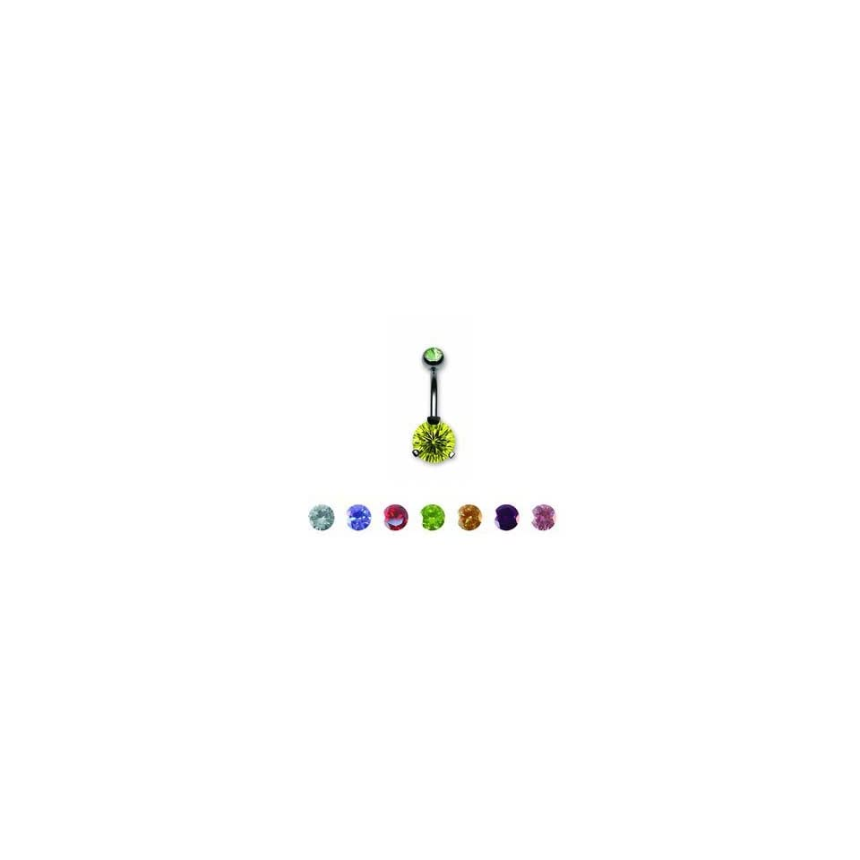 Round Double Jeweled Belly Ring with Peridot Crystals   00g (10mm)   Sold Individually