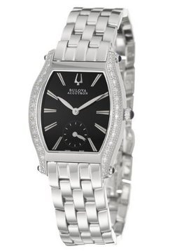 Accutron Saleya Diamond Bezel Black Dial Stainless Steel Ladies Watch 63R006