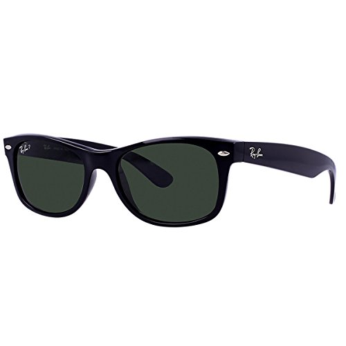 Ray-Ban RB2132 901/58 New Wayfarer Polarized Sunglasses,BlackFrame/Blackish green Polarized Lens,55 mm