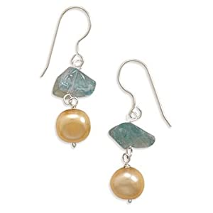Sterling Silver French Wire Earrings With 8.5mm Cultured Freshwater Pearl and 6mm Apatite Chip